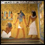 Paroi nord.Sennedjem est entraîné par Anubis.Kiosque d'Osiris.